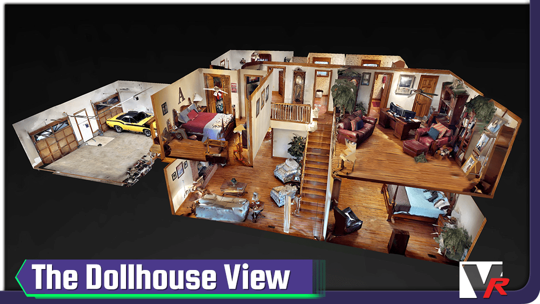 Dollhouse view of 3D 360 VR TOUR, online photo quality displays, great for convention centers.