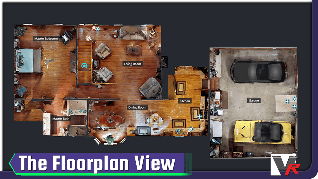 floorplan view of 3D 360 VR TOUR, online photo quality displays, great for convention centers.