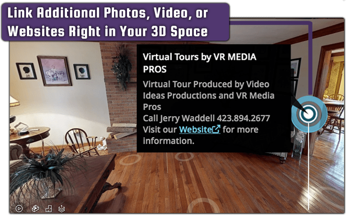 3D 360 VR TOUR display youtube videos photos links and more for VR media pros, great for realestate..