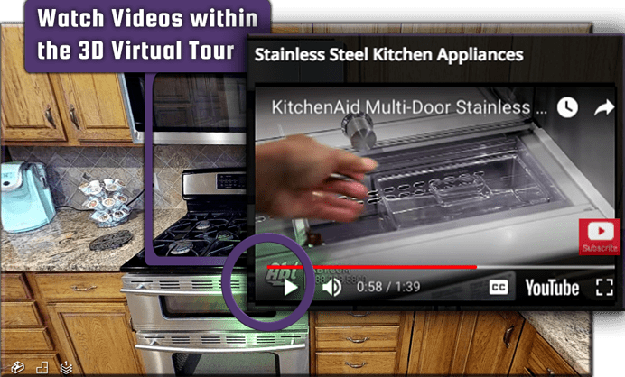 3D 360 VR TOUR display youtube videos for VR media pros, show off kitchen appliances..