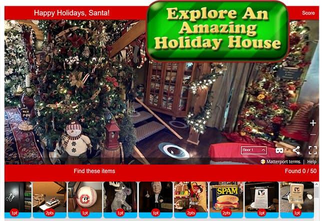 Christmas 3D 360 Scavenger Hunt Explore screen for VR media pros.