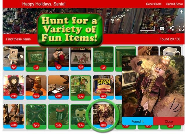 Christmas 3D 360 Scavenger Hunt find screen for VR media pros.