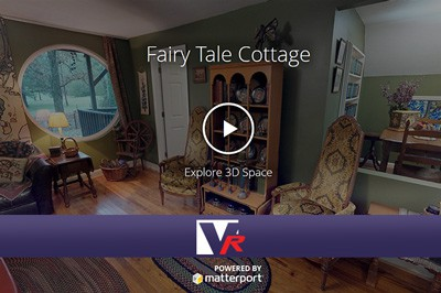 Insided a fairy tale cottage with 3D 360 VR TOUR, online photo quality displays, great for bed and breakfast.